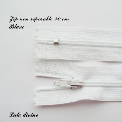 Zip non séparable 20 cm blanc