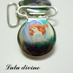 Pince 25 mm : Ariel La petite sirène dans coquillage