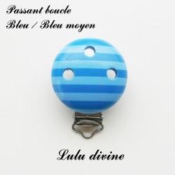 Clip en bois boucle Rayé : Bleu / Bleu moyen