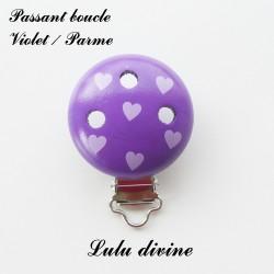 Clip en bois boucle Coeur : Violet / Parme