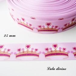 Ruban rose clair Couronne Princesse de 25 mm