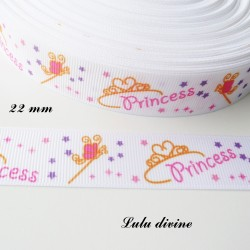 Ruban blanc Baguette Couronne Princess de 22 mm