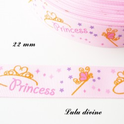 Ruban rose clair Baguette Couronne Princess de 22 mm