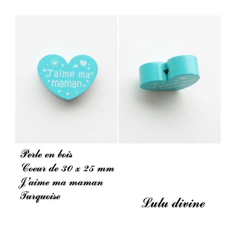 Bleu clair J/'aime ma maman Perle en bois de 30 x 25 mm Perle plate Coeur