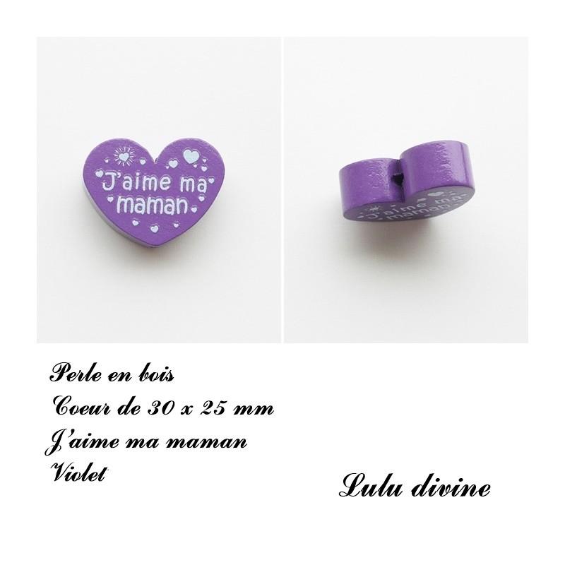 Perle en bois de 30 x 25 mm Perle plate Coeur Violet