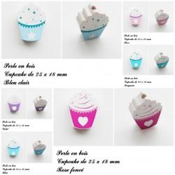 Perle en bois Cupcake