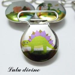 Pince 25 mm : Stegosaure vert/violet