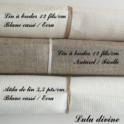 Lot de 3 coupons Lin & aïda de lin
