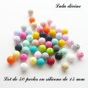 50 perles ronde silicone 15 mm