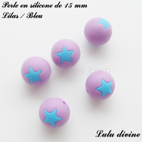Perle en silicone ronde 15 mm étoile