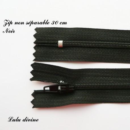 Couleur Blanche Zip// Fermeture éclair simple non séparable de 30 cm