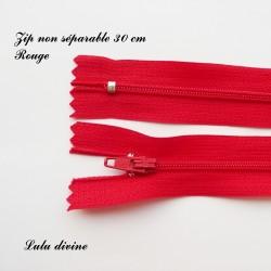 Fermeture éclair simple non séparable de 30 cm : Rouge