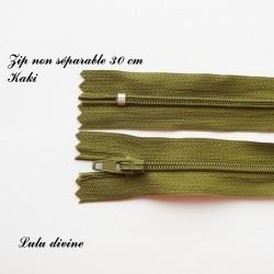 Fermeture éclair simple non séparable de 30 cm : Kaki