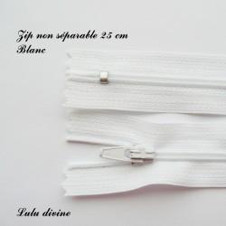 Fermeture éclair simple non séparable de 25 cm : Blanche