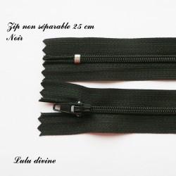Fermeture éclair simple non séparable de 25 cm : Noir