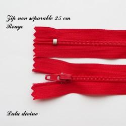 Fermeture éclair simple non séparable de 25 cm : Rouge