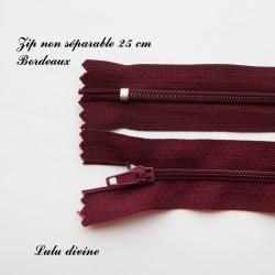 Fermeture éclair simple non séparable de 25 cm : Bordeaux