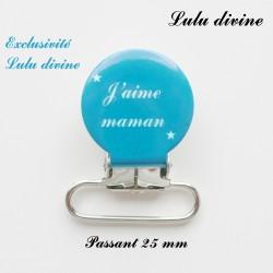 Pince ronde 25 mm : J'aime maman (bleu)