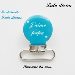 Pince ronde 25 mm : J'aime papa (bleu)