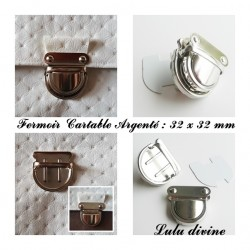 Fermoir Cartable Argenté Demi cercle : 32 x 32 mm