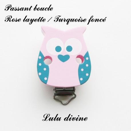 Hibou// Chouette : Gris moyen passant boucle attache tétine Pince // Clip bois