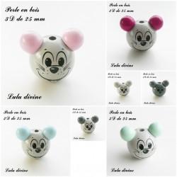 Perle en bois 3D Tête de souris