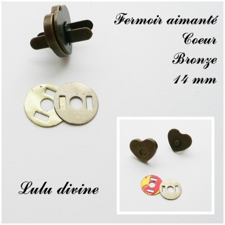 Fermoir aimant Coeur Bronze14 mm