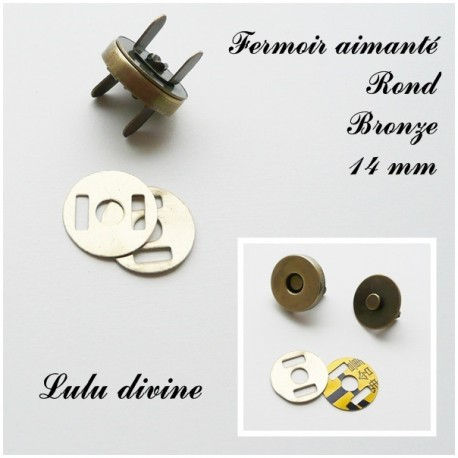 1 Fermoir aimanté Pression pour sac Fermoir pour sac de 14 mm Rond Bronze