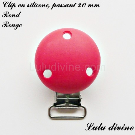 Attache tétine doudou passant de 20 mm : Rouge Clip fleur Pince fleur