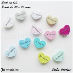 Perle en bois Coeur Je t'adore