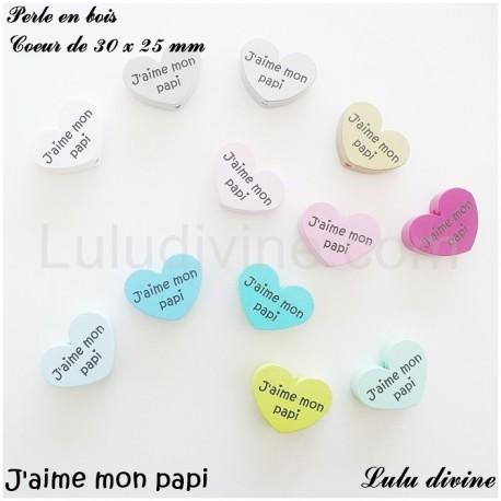 Perle en bois Coeur J'aime mon papi