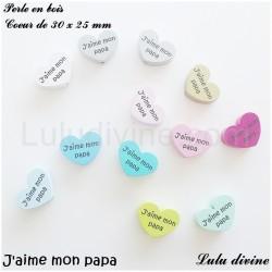 Perle en bois Coeur J'aime mon papa