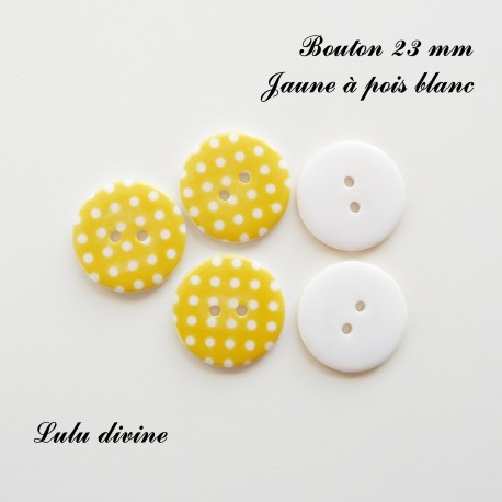 Bouton Rond 23 mm à pois blanc