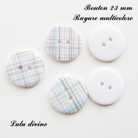 Bouton Rond 23 mm Rayure multicolore