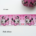 Ruban rose Petites étoiles Baby Minnie de 25 mm