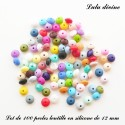 100 perles lentille silicone 12 mm