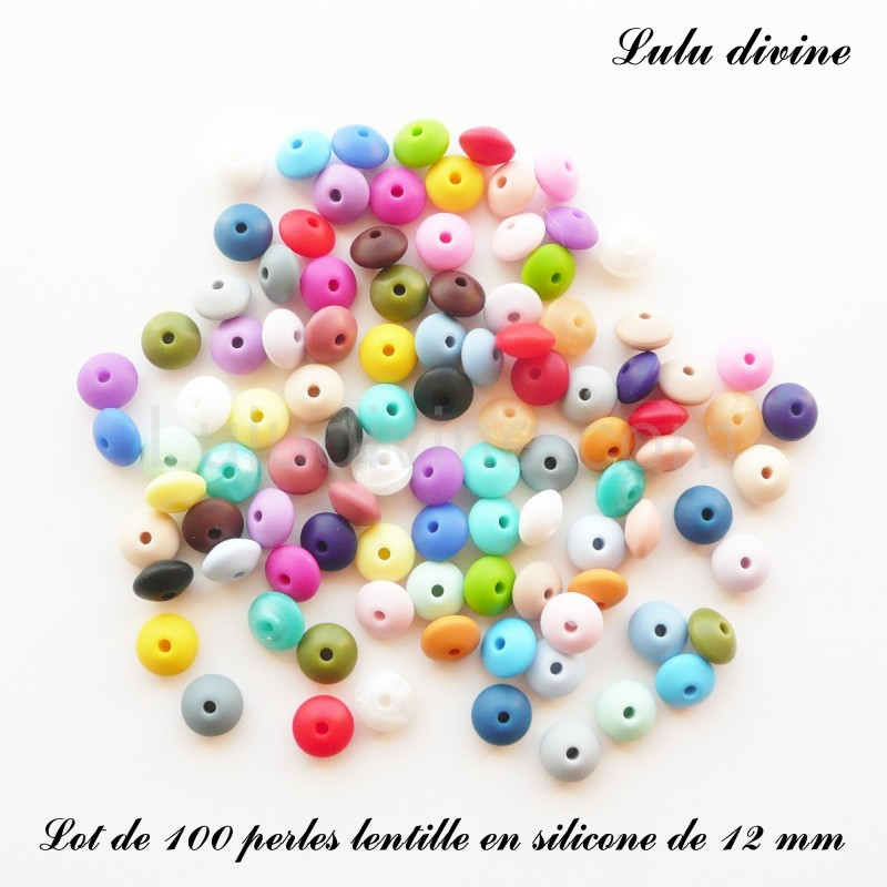 Chair Perle lentille en silicone de 12 mm lot de 10 perles