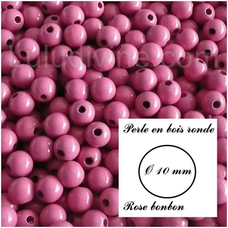 lot de 50 perles Rose bonbon Perle en bois Lentille Ø 10 mm