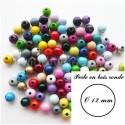Perle en bois Ronde 12 mm (Lot de 30 perles)