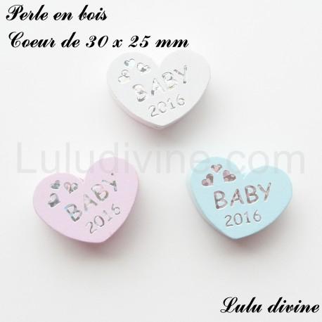 Perle en bois Coeur de 30 x 25 mm Baby 2015 Bleu clair
