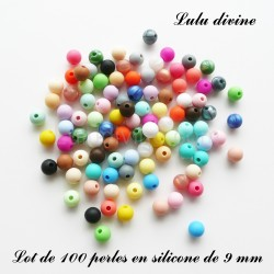 100 perles ronde silicone 9 mm