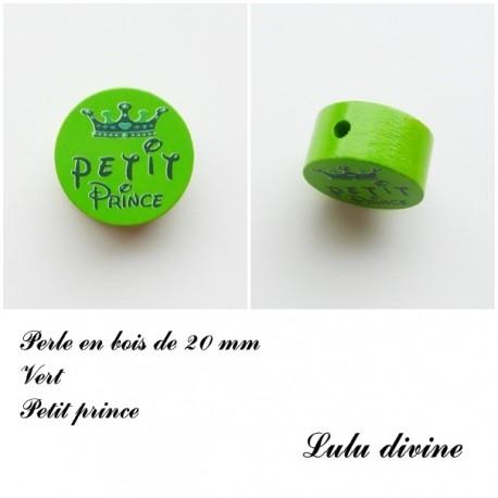 Perle en bois, Petit prince Vert / Bleu marine